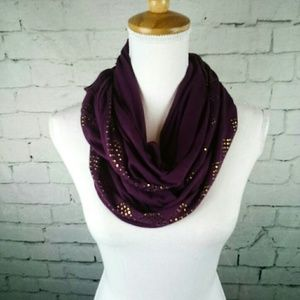 Plum Infinity Scarf With Gold Embellishment